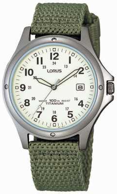 Lorus 男士模拟绿色帆布表带腕表 RXD425L8