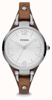Fossil 女士棕色真皮不锈钢手表 ES3060