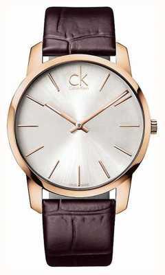 Calvin Klein 男士银色表盘玫瑰金表壳 K2G21629
