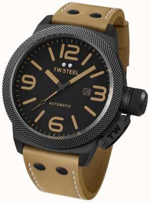 TW Steel 根特的食堂自动50毫米棕色皮革表带手表 TWA203