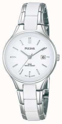 Pulsar 女装白色陶瓷和不锈钢白色表盘 PH7267X1