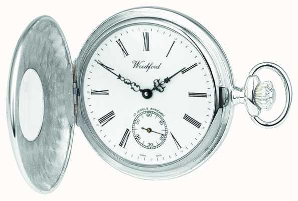 Woodford 925纯银开放式表壳白色表盘机械怀表 1068