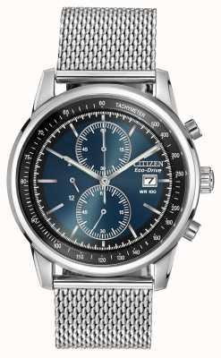 Citizen 不锈钢深蓝色表盘网状计时腕表 CA0331-56L