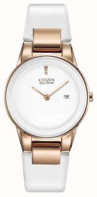 Citizen 女装公理金牌白色陶瓷真皮表带手表 GA1053-01A
