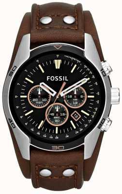 Fossil 男士车夫黑色表盘棕色皮革袖口表带腕表 CH2891