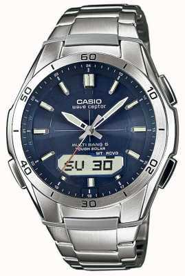 Casio 男士腕表蓝色表盘不锈钢腕表 WVA-M640D-2AER