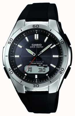 Casio 男装潮腕表黑色橡胶表带不锈钢腕表 WVA-M640-1AER