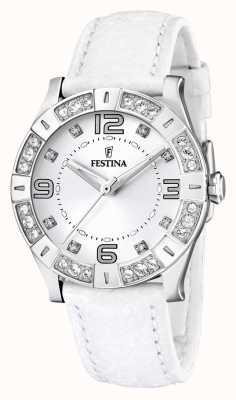 Festina 女士不锈钢水晶镶白色真皮表带腕表 F16537/1
