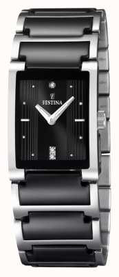 Festina 女式黑色陶瓷不锈钢矩形表盘手表 F16536/2