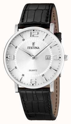Festina 男士不锈钢黑色真皮表带手表 F16476/3