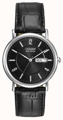 Citizen 男士黑色皮革表带环保驾驶 BM8240-03E