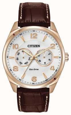 Citizen 男士玫瑰金香槟表盘棕色真皮表带腕表 AO9023-01A