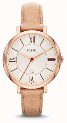 Fossil 女士的jacqueline玫瑰金米色手表 ES3487
