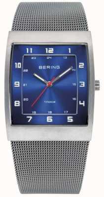 Bering 男装钢制,方形蓝色表盘 11233-078