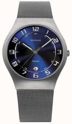 Bering 男士钛蓝色表盘网眼手表 11937-078