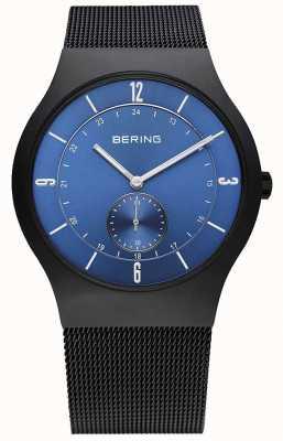 Bering 男士黑色,纤细,蓝色表盘 11940-227