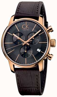 Calvin Klein 男士玫瑰金黑色表盘棕色真皮城市计时码表 K2G276G3