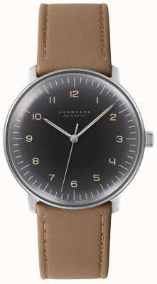 Junghans 男士最大钞票自动黑色表盘棕色皮革手表 027/3401.04