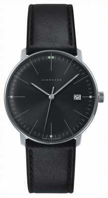 Junghans 男士max bill石英纯黑色表盘黑色真皮手表 041/4465.00
