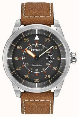 Citizen |男士eco-drive avion wr100 |棕色皮革表带| AW1361-10H