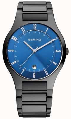 Bering 男士黑钛表盘,蓝色表盘 11739-727
