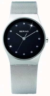 Bering 女装钢铁,黑色表盘,水晶表 12927-002