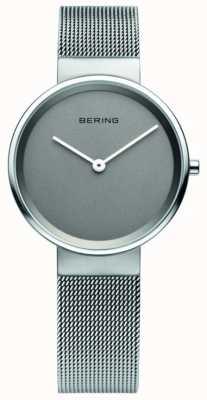 Bering 女装经典,网眼,灰色表盘,钢质手表 14531-077