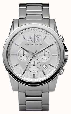 Armani Exchange 男士银钢计时码表 AX2058
