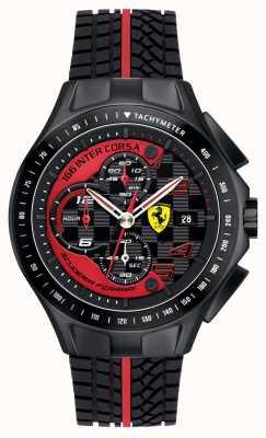 Scuderia Ferrari 男装比赛日,黑色,橡胶表带手表 0830077