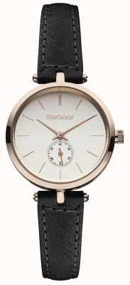 Barbour Lisle黑色真皮表带手表 BB011RSBK