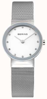 Bering 女士经典|不锈钢网带|白脸| 10122-000