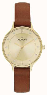 Skagen 女士安妮塔镀金棕色表带手表 SKW2147