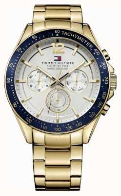 Tommy Hilfiger 男士卢克手表| pvd案例|金色不锈钢表带| 1791121