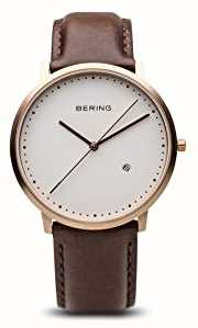 Bering 男士白色表盘棕色皮革表带 11139-564