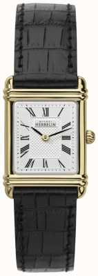 Michel Herbelin 女式真皮表带金色表壳罗马数字 17478/P08