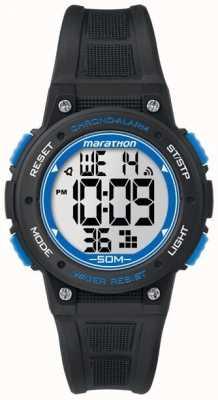 Timex 马拉松数字黑色橡胶表带蓝色 TW5K84800