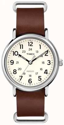Timex 原稿weekender棕色皮革表带 T2P495