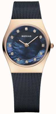Bering 女式玫瑰金,蓝色珍珠,水晶 11927-367