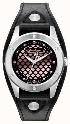 Harley Davidson 黑色和玫瑰金配皮革表带 76L163