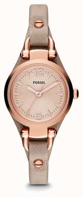 Fossil 女士格子花呢玫瑰金镀金皮革 ES3262