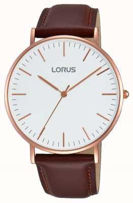 Lorus 男士棕色真皮表带白色表盘 RH880BX9