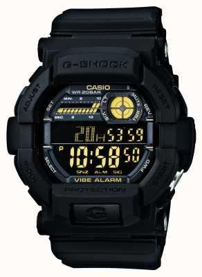 Casio G-SHOCK振动5报警手表黑色黄色 GD-350-1BER