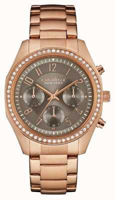 Caravelle New York 女式玫瑰金水晶计时码表 44L195