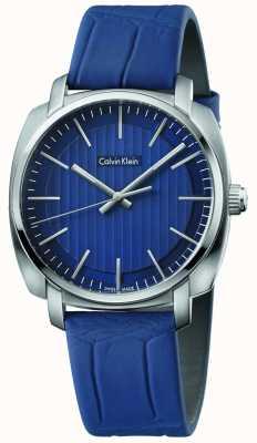 Calvin Klein 男士高线蓝色皮革表带蓝色表盘 K5M311VN