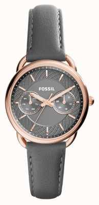 Fossil 女装灰色皮革表带灰色表盘 ES3913