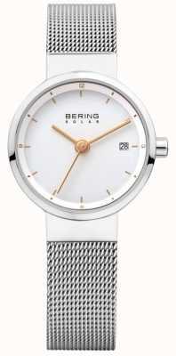 Bering 女式太阳能不锈钢网状白色表盘 14426-001