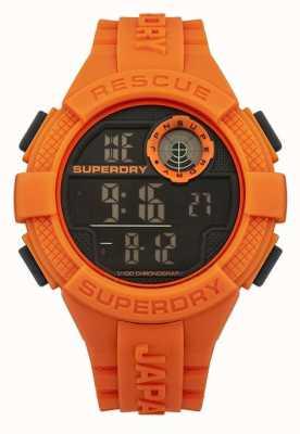 Superdry 男式雷达数字橙色橡胶表带 SYG193O