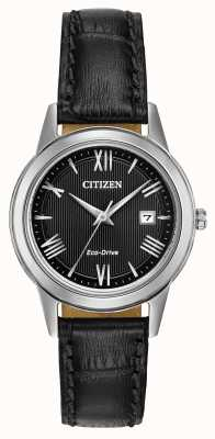 Citizen 女士生态驱动皮革表带黑色表盘 FE1081-08E