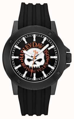 Harley Davidson 男士黑色硅胶表带|黑色表盘 78A115