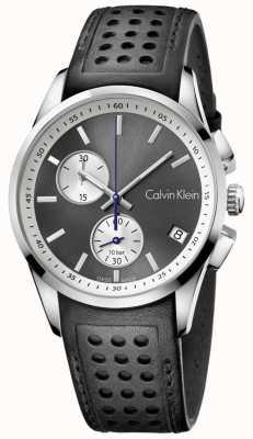 Calvin Klein 男士大胆的计时黑色皮革 K5A371C3